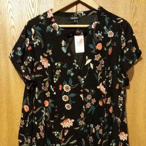 torrid Black Floral Gauze Swing Dress Keyhole